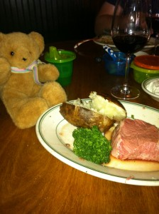 Izzy the bear, given to Savannah by a waiter at Izzy's Steak & Chops